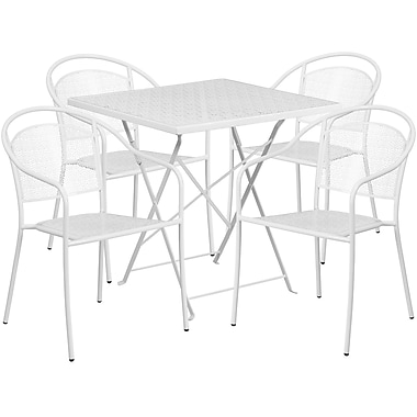 28'' Square White Indoor-Outdoor Steel Folding Patio Table Set with 4 Round Back Chairs [CO-28SQF-03CHR4-WH-GG]