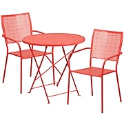 30'' Round Coral Indoor-Outdoor Steel Folding Patio Table Set with 2 Square Back Chairs [CO-30RDF-02CHR2-RED-GG]