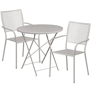 Table de jardin ronde (30po) et pliable en acier gris pâle/2chaises, dossier carré, intérieur/extérieur [CO-30RDF-02CHR2-SIL-GG]