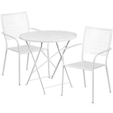 Table de jardin ronde (30po) et pliable en acier blanc/2 chaises au dossier carré, intérieur/extérieur [CO-30RDF-02CHR2-WH-GG]