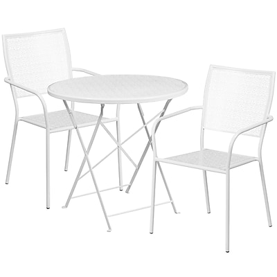 30'' Round White Indoor-Outdoor Steel Folding Patio Table Set with 2 Square Back Chairs [CO-30RDF-02CHR2-WH-GG]