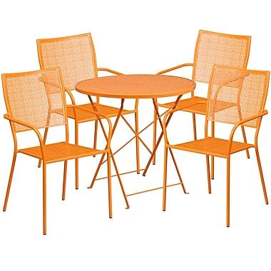 Table de jardin ronde et pliable 30 po en acier orange/4 chaises à dossier carré, intérieur/extérieur [CO-30RDF-02CHR4-OR-GG]