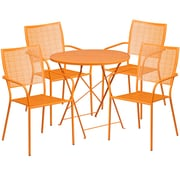 30'' Round Orange Indoor-Outdoor Steel Folding Patio Table Set with 4 Square Back Chairs [CO-30RDF-02CHR4-OR-GG]