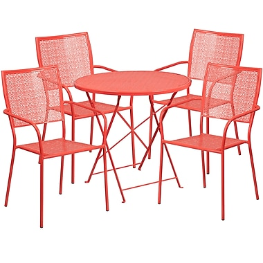 30'' Round Coral Indoor-Outdoor Steel Folding Patio Table Set with 4 Square Back Chairs [CO-30RDF-02CHR4-RED-GG]