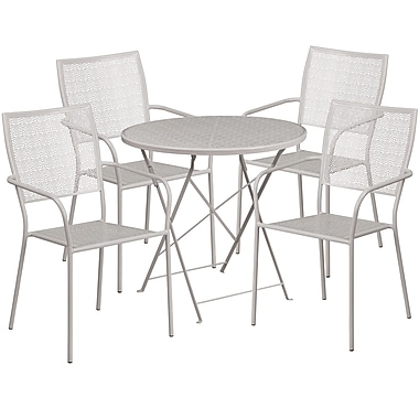 30'' Round Light Grey Indoor-Outdoor Steel Folding Patio Table Set with 4 Square Back Chairs [CO-30RDF-02CHR4-SIL-GG]