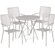 30'' Round Light Gray Indoor-Outdoor Steel Folding Patio Table Set with 4 Square Back Chairs [CO-30RDF-02CHR4-SIL-GG]
