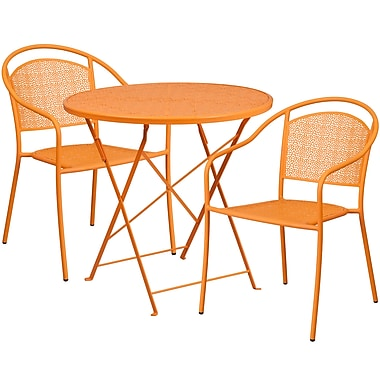 30'' Round Orange Indoor-Outdoor Steel Folding Patio Table Set with 2 Round Back Chairs [CO-30RDF-03CHR2-OR-GG]