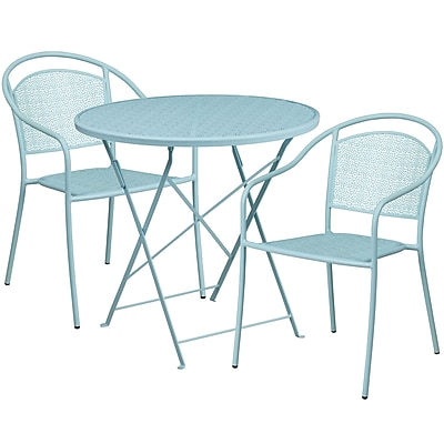 30'' Round Sky Blue Indoor-Outdoor Steel Folding Patio Table Set with 2 Round Back Chairs [CO-30RDF-03CHR2-SKY-GG]
