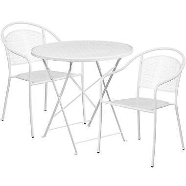 Table de jardin ronde (30po) et pliable en acier blanc et 2 chaises au dossier rond, intérieur/extérieur [CO-30RDF-03CHR2-WH-GG]