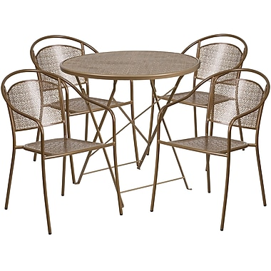 30'' Round Gold Indoor-Outdoor Steel Folding Patio Table Set with 4 Round Back Chairs [CO-30RDF-03CHR4-GD-GG]