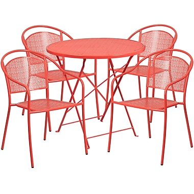 30'' Round Coral Indoor-Outdoor Steel Folding Patio Table Set with 4 Round Back Chairs [CO-30RDF-03CHR4-RED-GG]