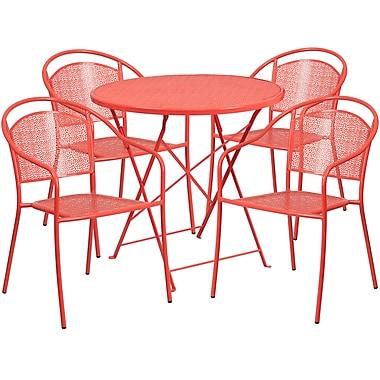 Table de jardin ronde (30po) et pliable en acier corail/4 chaises au dossier rond, intérieur/extérieur [CO-30RDF-03CHR4-RED-GG]