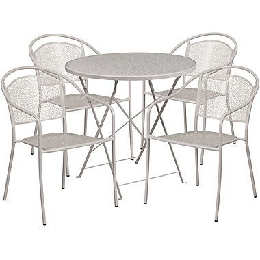 30'' Round Light Grey Indoor-Outdoor Steel Folding Patio Table Set with 4 Round Back Chairs [CO-30RDF-03CHR4-SIL-GG]