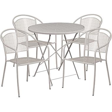 Table de jardin ronde (30po) et pliable en acier gris pâle/4 chaises, dossier rond, intérieur/extérieur [CO-30RDF-03CHR4-SIL-GG]