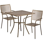 28'' Square Gold Indoor-Outdoor Steel Patio Table Set with 2 Square Back Chairs [CO-28SQ-02CHR2-GD-GG]