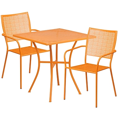 28'' Square Orange Indoor-Outdoor Steel Patio Table Set with 2 Square Back Chairs [CO-28SQ-02CHR2-OR-GG]