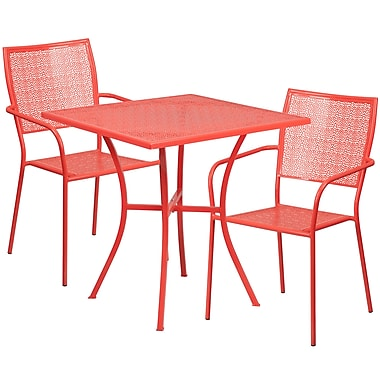 28'' Square Coral Indoor-Outdoor Steel Patio Table Set with 2 Square Back Chairs [CO-28SQ-02CHR2-RED-GG]