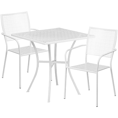 28'' Square White Indoor-Outdoor Steel Patio Table Set with 2 Square Back Chairs [CO-28SQ-02CHR2-WH-GG]