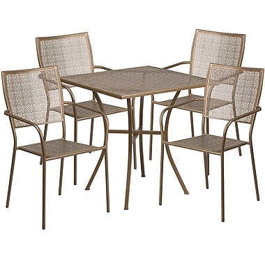 Table de jardin carrée de 28 po en acier doré et 4 chaises au dossier carré, intérieur/extérieur [CO-28SQ-02CHR4-GD-GG]