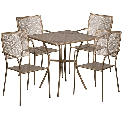 28'' Square Gold Indoor-Outdoor Steel Patio Table Set with 4 Square Back Chairs [CO-28SQ-02CHR4-GD-GG]