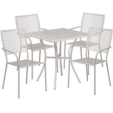28'' Square Light Grey Indoor-Outdoor Steel Patio Table Set with 4 Square Back Chairs [CO-28SQ-02CHR4-SIL-GG]