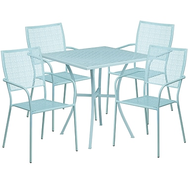 28'' Square Sky Blue Indoor-Outdoor Steel Patio Table Set with 4 Square Back Chairs [CO-28SQ-02CHR4-SKY-GG]