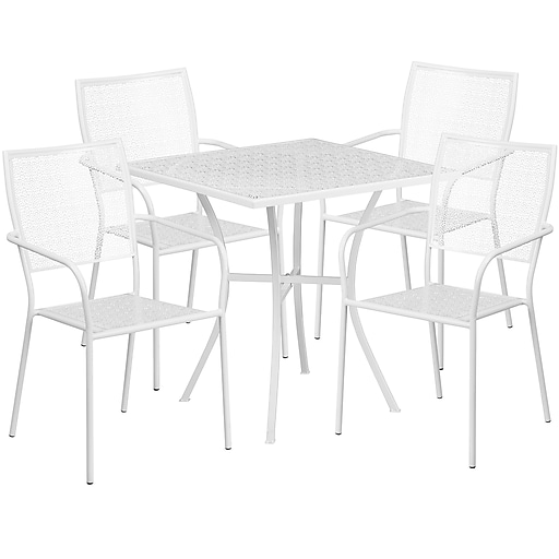 28'' Square White Indoor-Outdoor Steel Patio Table Set with 4 Square Back Chairs [CO-28SQ-02CHR4-WH-GG]