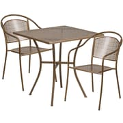 28'' Square Gold Indoor-Outdoor Steel Patio Table Set with 2 Round Back Chairs [CO-28SQ-03CHR2-GD-GG]