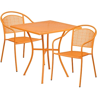 28'' Square Orange Indoor-Outdoor Steel Patio Table Set with 2 Round Back Chairs [CO-28SQ-03CHR2-OR-GG]