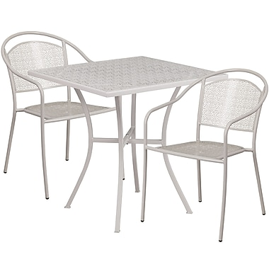 28'' Square Light Grey Indoor-Outdoor Steel Patio Table Set with 2 Round Back Chairs [CO-28SQ-03CHR2-SIL-GG]