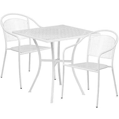 28'' Square White Indoor-Outdoor Steel Patio Table Set with 2 Round Back Chairs [CO-28SQ-03CHR2-WH-GG]
