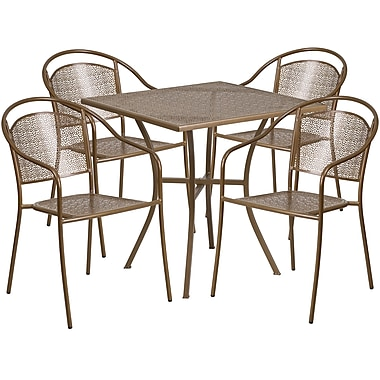 28'' Square Gold Indoor-Outdoor Steel Patio Table Set with 4 Round Back Chairs [CO-28SQ-03CHR4-GD-GG]
