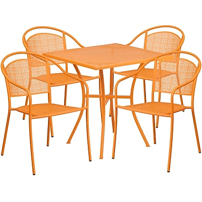 28'' Square Orange Indoor-Outdoor Steel Patio Table Set with 4 Round Back Chairs [CO-28SQ-03CHR4-OR-GG]