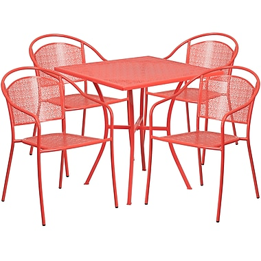 28'' Square Coral Indoor-Outdoor Steel Patio Table Set with 4 Round Back Chairs [CO-28SQ-03CHR4-RED-GG]
