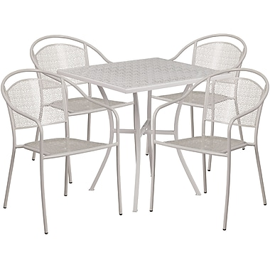 28'' Square Light Grey Indoor-Outdoor Steel Patio Table Set with 4 Round Back Chairs [CO-28SQ-03CHR4-SIL-GG]
