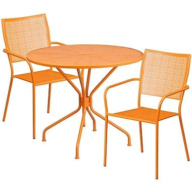 Table de jardin ronde de 35,25 po en acier orange et 2 chaises à dossier carré, intérieur/extérieur [CO-35RD-02CHR2-OR-GG]