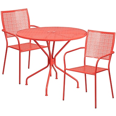 35.25'' Round Coral Indoor-Outdoor Steel Patio Table Set with 2 Square Back Chairs [CO-35RD-02CHR2-RED-GG]