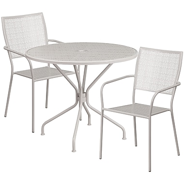 35.25'' Round Light Grey Indoor-Outdoor Steel Patio Table Set with 2 Square Back Chairs [CO-35RD-02CHR2-SIL-GG]