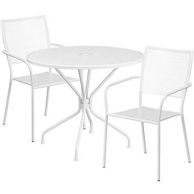 Table de jardin ronde de 35,25 po en acier blanc et 2 chaises au dossier carré, intérieur/extérieur [CO-35RD-02CHR2-WH-GG]