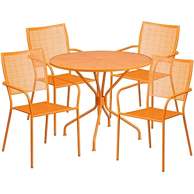 35.25'' Round Orange Indoor-Outdoor Steel Patio Table Set with 4 Square Back Chairs [CO-35RD-02CHR4-OR-GG]