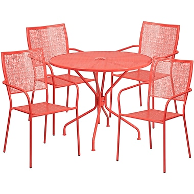 35.25'' Round Coral Indoor-Outdoor Steel Patio Table Set with 4 Square Back Chairs [CO-35RD-02CHR4-RED-GG]