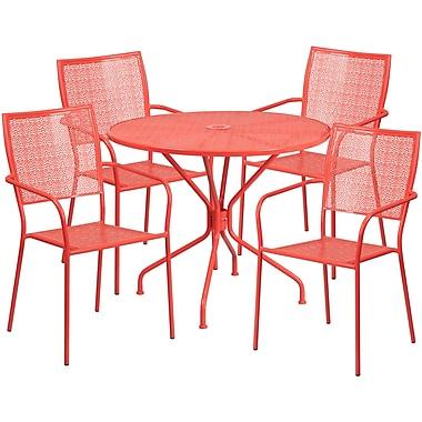 Table de jardin ronde de 35,25 po en acier corail et 4 chaises à dossier carré, intérieur/extérieur [CO-35RD-02CHR4-RED-GG]