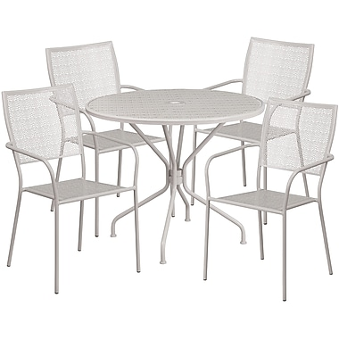 35.25'' Round Light Grey Indoor-Outdoor Steel Patio Table Set with 4 Square Back Chairs [CO-35RD-02CHR4-SIL-GG]