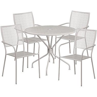 Table de jardin ronde de 35,25 po en acier gris pâle et 4 chaises à dossier carré, intérieur/extérieur [CO-35RD-02CHR4-SIL-GG]