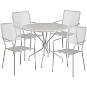 35.25'' Round Light Gray Indoor-Outdoor Steel Patio Table Set with 4 Square Back Chairs [CO-35RD-02CHR4-SIL-GG]