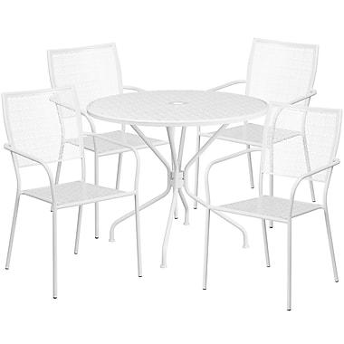 Table de jardin ronde de 35,25 po en acier blanc et 4 chaises au dossier carré, intérieur/extérieur [CO-35RD-02CHR4-WH-GG]