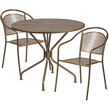 Table de jardin ronde de 35,25 po en acier doré et 2 chaises au dossier rond, intérieur/extérieur [CO-35RD-03CHR2-GD-GG]