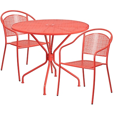 35.25'' Round Coral Indoor-Outdoor Steel Patio Table Set with 2 Round Back Chairs [CO-35RD-03CHR2-RED-GG]