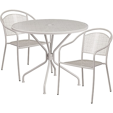 35.25'' Round Light Grey Indoor-Outdoor Steel Patio Table Set with 2 Round Back Chairs [CO-35RD-03CHR2-SIL-GG]