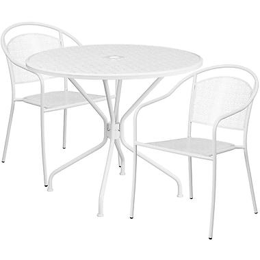 Table de jardin ronde de 35,25 po en acier blanc et 2 chaises au dossier rond, intérieur/extérieur [CO-35RD-03CHR2-WH-GG]